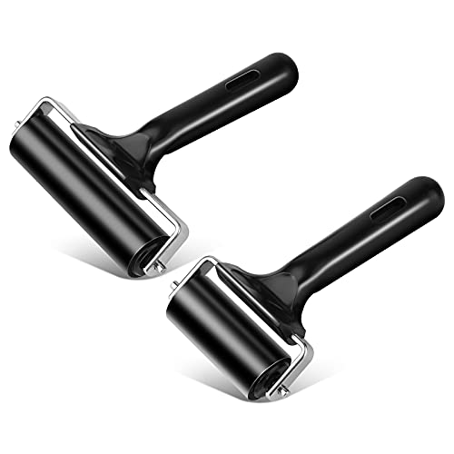 2Pcs Rubber Roller Brayer Rollers Hard Rubber 3.8 and 2.2 Inch for Printmaking (Black) by HRLORKC