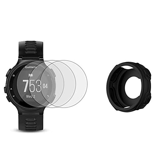 Protector de pantalla de reloj (3 unidades) compatible con Garmin Forerunner 735XT Película de vidrio templado antiarañazos, cobertura completa y 1 paquete de funda de silicona para reloj inteligente