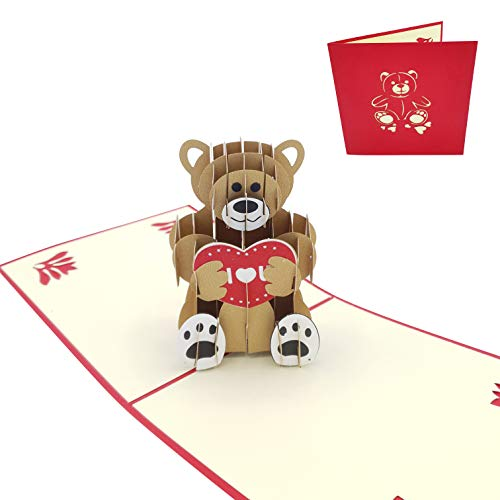 Tarjeta de felicitación 3D de Amor - Postal 3D Oso con corazón - Para San Valentín, aniversario, pareja, novio, novia, padre, madre, hijo, hija - I love you