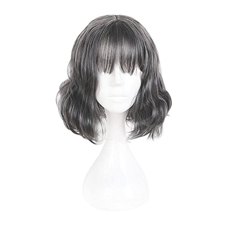 MCOSER 35cm Japan and South Korea Wig Air Bang Paragraph With Daily Harajuku Grey Color Lolita Wig