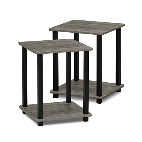 FURINNO Simplistic End Table, French Oak Grey/Black
