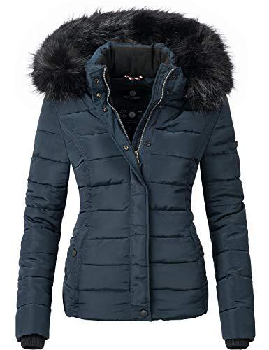 Navahoo Giacca Trapuntata Invernale da Donna con Cappuccio in Pelliccia Sintetica Miamor Blu XL