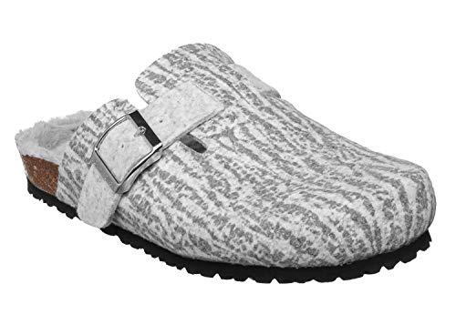 JOE N JOYCE Amsterdam | Cómodas zapatillas de corcho con suela cómoda | Parte superior de fieltro | Ancho estrecho | Tamaños W5-W11 / M4-M9 | Zuecos en colores versátiles, gris (gris), 42