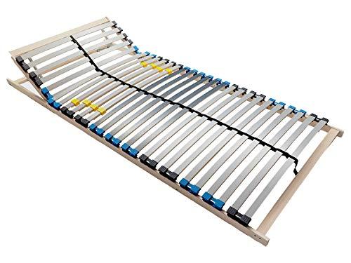 BMM Lattenrost Standard K 7 Zonen mit 28 Federholzleisten, geräuschlose Duo HQ-Kappen, holmübergreifende Latten, mit Kopfteilverstellung, 90x200 cm
