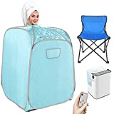 Angotrade Portable Steam Sauna, Personal Indoor Sauna Tent Remote Control&Chair Included, One Person Sauna for Therapeutic Relaxation Detox Weight Loss at Home (Green Grey)