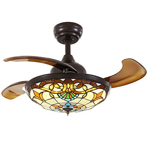 Siljoy Tiffany Style Ceiling Fans with Lights and Retractable Blades Dark Brown Invisible Fan Chandelier Dimmable LED Lighting (Warm/Daylight/Cool White) 36 INCH