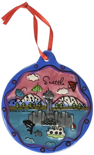 NS Seattle Christmas Ornament Umbrellas Puff Hand Painted 3 Inches