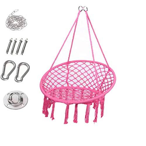Silla colgante con cojín suave y kit de herrajes para colgar, cómoda hamaca de macramé, sillas colgantes resistentes, para interiores, exteriores, hogar, patio, jardín (rosa)