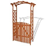 Unfade Memory Trellis Rose Garden Arch Pergola Arbors with Gate Solid Wood Outdoor Patio Gate 47.2'x23.6'x80.7'