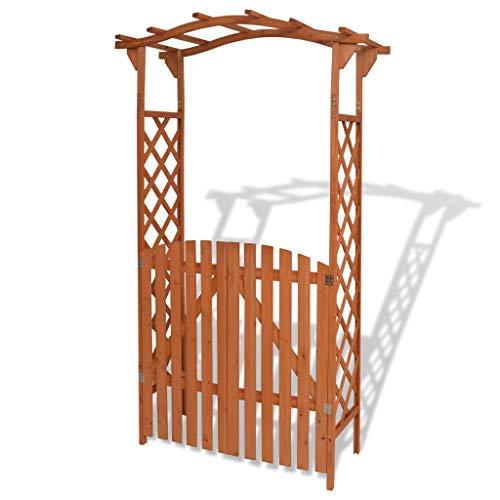 UnfadeMemory Pérgola de Jardin con Puerta,Arco de Rosas,Madera Maciza,120x60x205cm