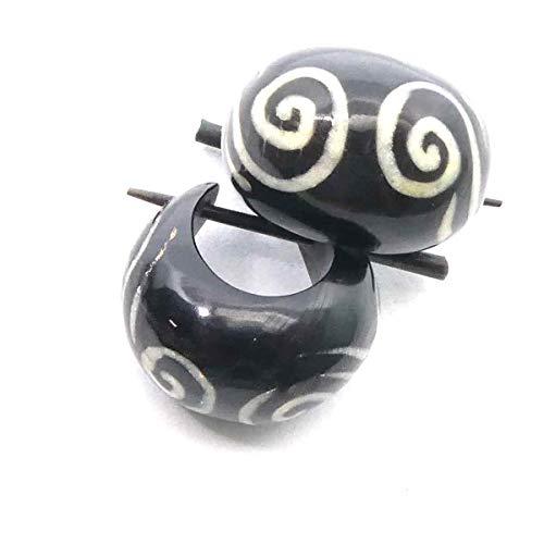 Horn Creole verziert handgefertigter Schmuck Ohrring Hornschmuck, Durchmesser: 1,5cm Paarpreis