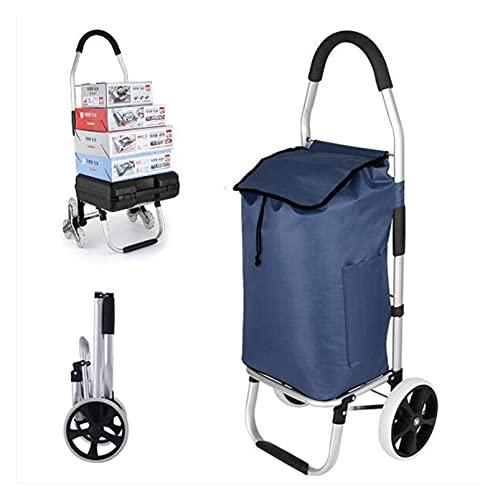 TabloKanvas Carrito de la Compra Plegable sólido con Bolsa Impermeable 50l Gran Capacidad con Ruedas Mochila Desmontable (Color : C: Blue)
