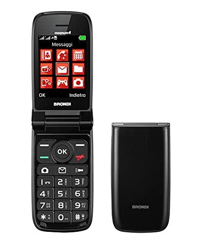 Brondi Magnum 4 Telefono Cellulare Maxi Display, Tastiera Fisica Retroilluminata, Dual Sim, 1.3 MP, Li-ion 800 mAh, Flip Attivo, Nero