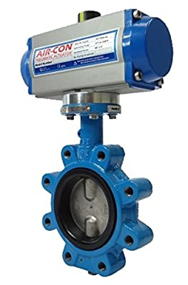 "6"" Air Actuated Butterfly Valve 125# Lug DI SS 80 PSI DA Actuator 200 PSI Line Pressure from Max-Seal Actuated"