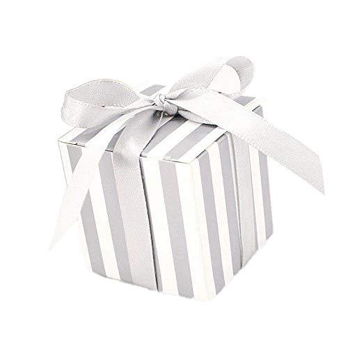 JZK 50 Striscia bianco argento scatola portaconfetti scatolina bomboniera segnaposto portariso per matrimonio compleanno Natale laurea nascita battesimo