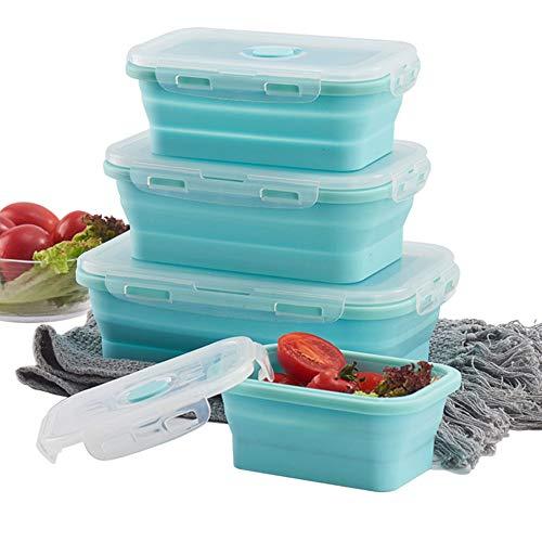 Schneespitze 3 Pcs Porta Alimentos,Fiambrera de Silicona,Plegable de Silicona Recipientes,Almacenamiento de Alimentos para Hornos De Microondas, Refrigeradores