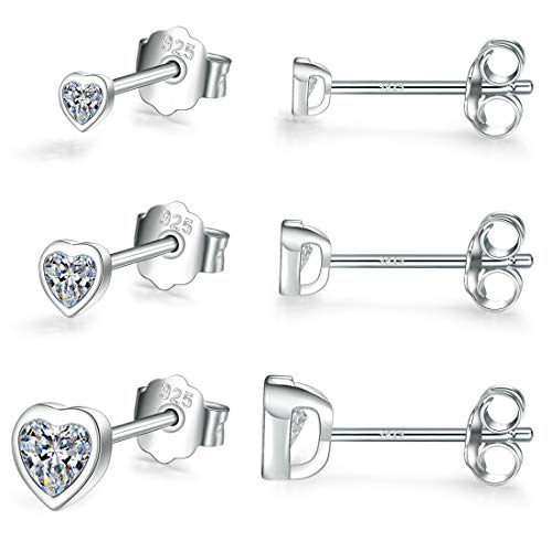 Small Stud Earrings for Women Men Girls- 3 Pairs of Silver Tiny Heart Shaped Cubic Zirconia Earrings White Gold Plated Tiny CZ Cartilage Tragus Earrings(2mm/3mm/4mm)