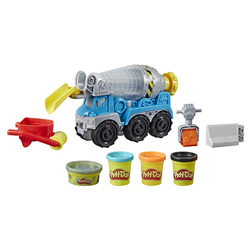 Hasbro Wheels Play-Doh Autocarro Betoniera (playset con pasta da modellare color cemento e in 3 colori atossici)