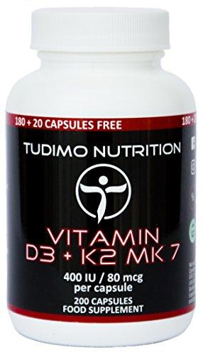 Vitamina D3 e K2 MK7-400 IU/80 mcg - 200 pz (Scorta 6+ Mesi) di Capsule a Disgregazione Rapida con Vit K2 come Menaquinone e Vit D3 come Polvere Colecalciferolo Qualita Premium