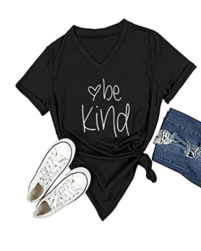 DANVOUY Womens T Shirt Casual Cotton Short Sleeve V-Neck Graphic T-Shirt Tops Tees Black Small