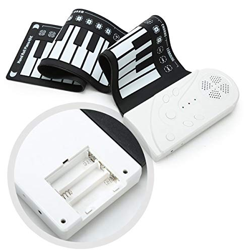 HQQ 49 Keys Digital Keyboard Piano Portable Electronic Hand Roll Up Piano with Silicone Piano Keyboard for Beginners, Built-in Speaker (Color : Pearl White)