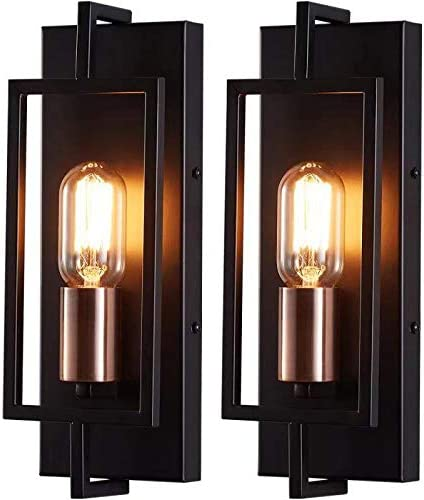 Rustic Wall Sconces Set of Two LHLYCLX Black Bathroom Vanity Light Industrial Wall Lamps for product image