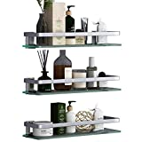 VOLPONE Glass Wall Shelf 3 Tier Bathroom Shower Glass Shelf Wall Mounted Metal Storage Floating Shelves for Kitchen 15.7inch (Sliver)