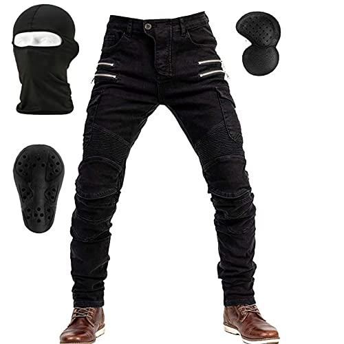 NXSP Pantalones De Mezclilla De Motocicleta Para Hombre, Jeans De Pierna Recta Resistentes A Caídas Con 4 Tipos De Equipo De Protección, Pantalones De Motocicleta De Carreras De Motos (Black,M)