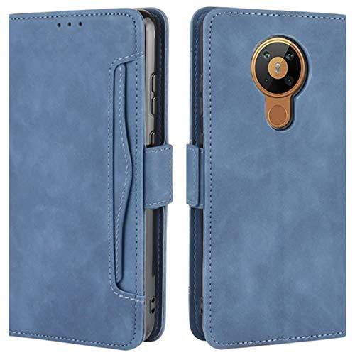 HualuBro Handyhülle für Nokia 5.3 Hülle Leder, Flip Hülle Cover Stoßfest Klapphülle Handytasche Schutzhülle für Nokia 5.3 Tasche (Blau)