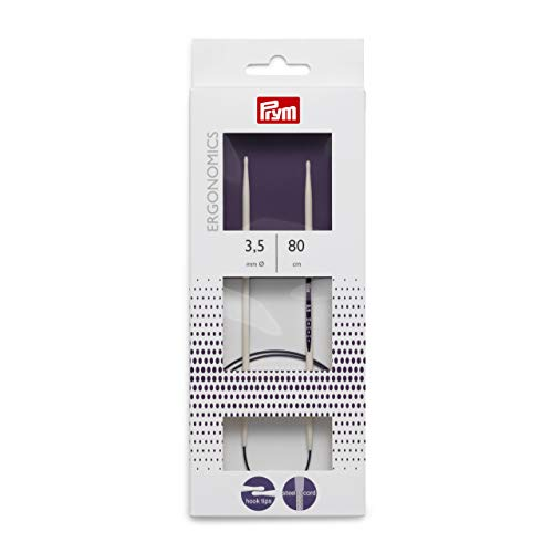 PRYM Rundstricknadel, ergonomisches Design/Nadeln, Kunststoff, Mehrfarbig, 3,5mm, 80cm