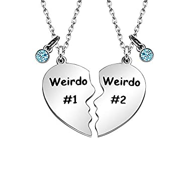 Maxforever Friendship Gifts Weirdo 1 & Weirdo 2 Two Split Heart Pendant Necklaces BFF Jewelry Necklace Set for Best Friend  Blue Crystal