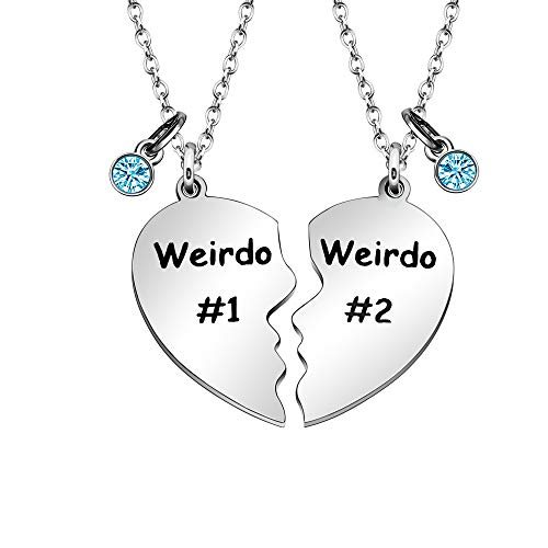 Maxforever Weirdo #1 Weirdo #2 Best Friend Forever Necklace Friendship Gifts for Women Girls (Classic Blue Crystal)