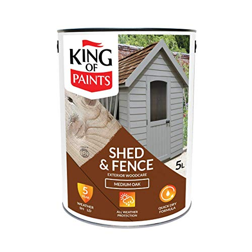 Fence Shed & Decking Paint 5 litres Superocat Light to Medium Oak Finish by King of Paints