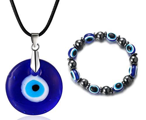 Halukakah Mal de Ojo Conjunto de Collar Pulsera para Hombre Mujer,Zafiro Resina Colgante Ojo Azul Cuerda de Cera Cuentas de Piedra Magnética de Hematita Protección Joyas Mal de Ojo con Caja de Regalo