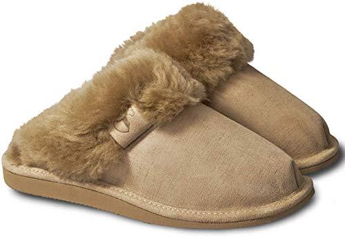 Estro Intimo Damen Lammfell Hausschuhe Echtleder Gefuttert Wolle Pantoffeln Schlappen Schuhe (36, Beige 1)