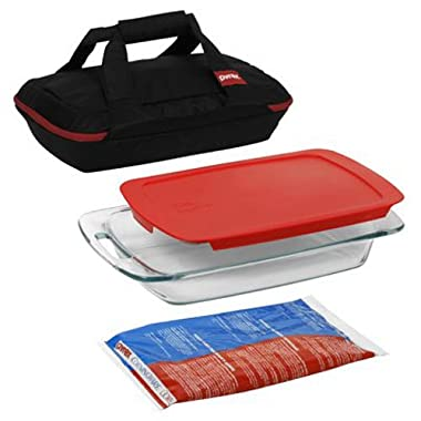 Pyrex 1102266 Portables 4-Piece Glass Bakeware and Food Storage Set