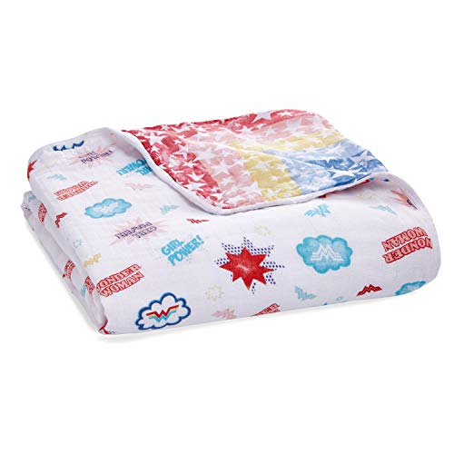 aden + anais Essentials Wonder Woman Dream Blanket, Muslin Baby Blankets for Girls & Boys, Ideal Lightweight Newborn Nursery & Crib Blanket, Shower & Registry Gift, Wonder Woman