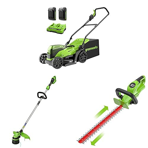 Greenworks 2x24 V 36 cm brushless mower, trimmer, 24 V cordless hedge trimmer combo kit include 2x2 Ah battery and dual slot charger