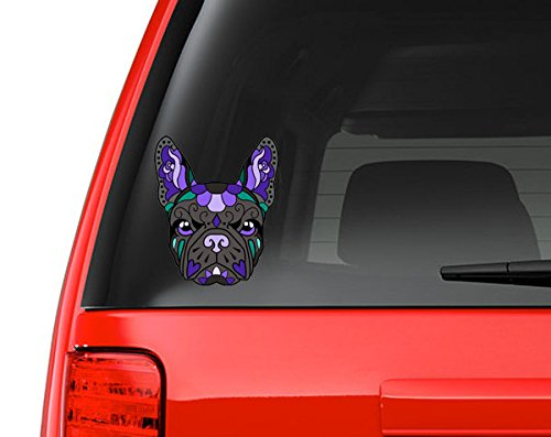 French Bulldog Sugar Skull Black and Purple Full Color Art Vinyl Auto Decal Sticker or any Smooth Surface