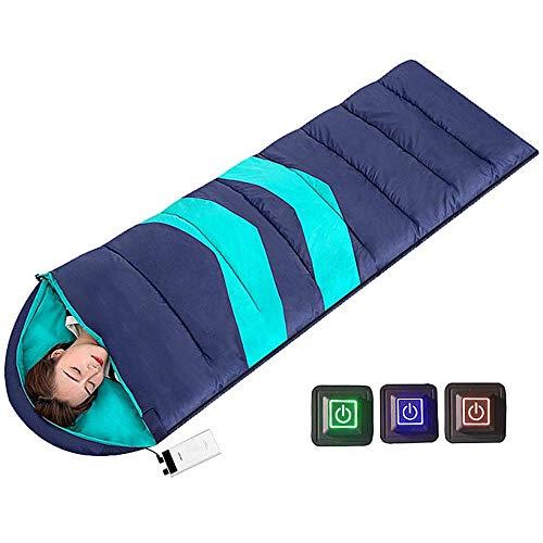 VANLAMP Beheizte Schlafsack für Erwachsene Kinder, Outdoor Rechteck Schlafsack 3 Fakultativ Temperatur mit USB Heizung Deckenschlafsack Heizdecke für Winter Camping Fischen