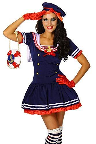 Karneval Mottoparty Süsses Marine-Kostüm blau/rot/weiß GrS-M, Größe Atixo:S-M
