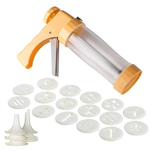 LaceDaisy Cookie-Keks Presse & Kuchen-Zuckerglasur-Set Kekse-Presse-Maschine-Küche-Werkzeug-Kuchen mit 6 Spritzdüsen & 16 Ausstechformen