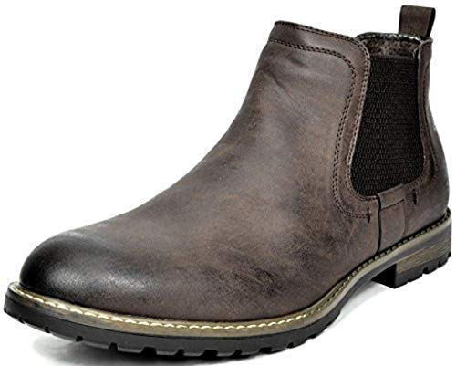 Bruno Marc Men's Philly-2 Dark Brown Leather Lined Chelsea Dress Ankle Boots – 7.5 M US