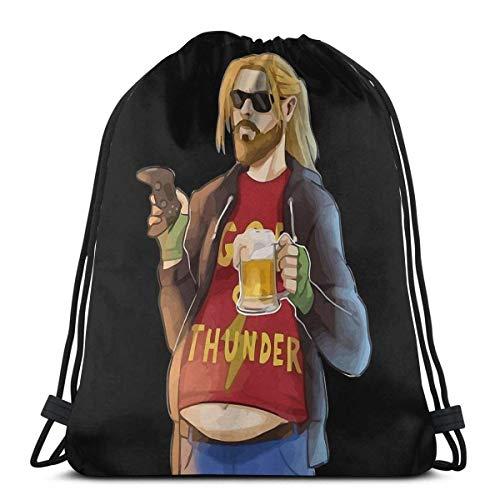 Lustiger FA-Gott des Donners Fat Man wie Bier und Spiel Sport Sackpack Kordelzug Rucksack Gym Bag Sack