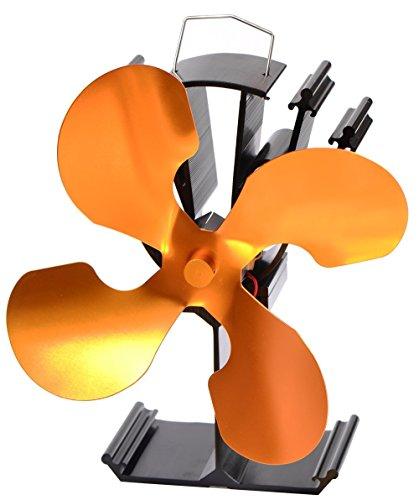 石油/木材暖炉用の4ブレード熱供給式ストーブファン - 環境にやさしい (ゴールド)