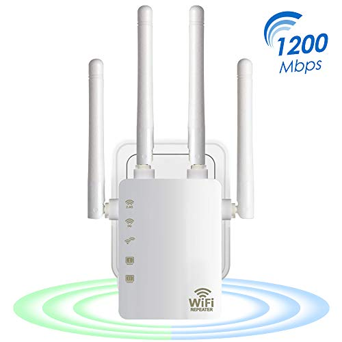 Aigital 1200Mbps WiFi Ripetitore Wireless Extender e Acceleratore WiFi 300Mbps su 2.4ghz e 867Mbps su 5ghz, 2 Porta LAN, WPS, 4 Antenna, Compatibile c