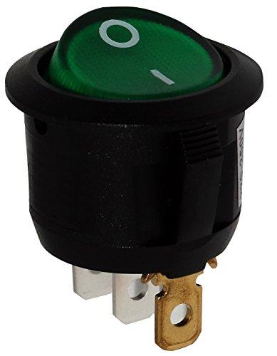 Aerzetix: Knopfschalter Switch Kippschalter Druckschalter SPST ON-OFF 6A/250V Grün 2 Positionen