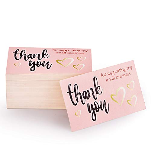 Thank You for Supporting My Small Business Card, Elegant Floral Design (3.5 x 2 Inches - 120 Business Cards) for Online, Retail Store, Handmade Goods, Customer Package Inserts