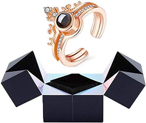 GUOSHUFANG Creativo anillo y caja de joyería puzzle, anillo de proyección de pulsera con caja de anillo mágico, joyas giratorias, oro rosa
