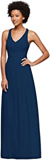 Long Bridesmaid Dress with Crisscross Back Straps Style...